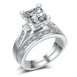 Elegant Princess Cut 2.55CT White Sapphire Ring